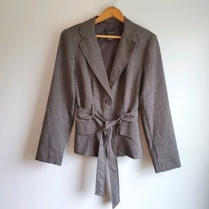 Vtg Blazer w/ Belt T Milano Womans Charcoal Grey